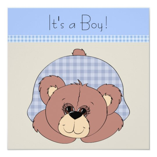 Blue Brown Teddy Bear Baby Boy Shower Card