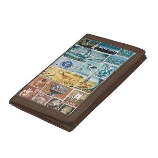 Blue Brown Wallet, Desert Landscape, Stamp Art Trifold Wallet