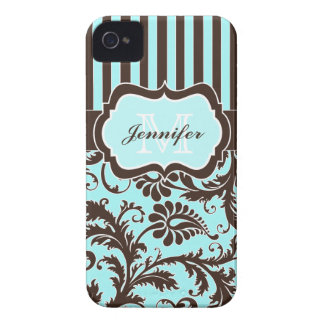 Blue, Brown, White Striped Damask iPhone 4 Case-Mate iPhone 4 Case