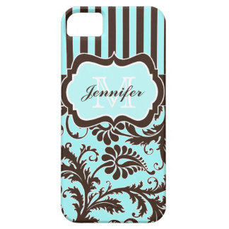 Blue Brown White Striped Damask iPhone 5 Case