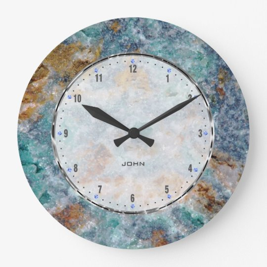 Blue & Brownl Marble Stone Pattern Large Clock