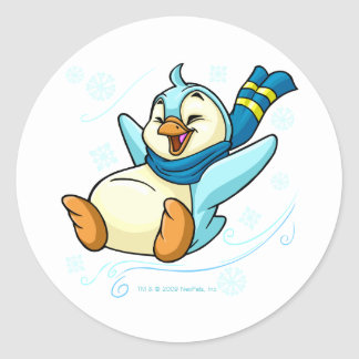 Blue Bruce sliding across ice Classic Round Sticker