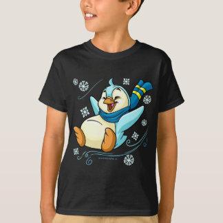 Blue Bruce sliding across ice T-Shirt
