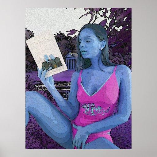 Blue brunette reading a good book poster