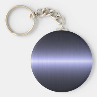 blue brushed strong basic round button key ring