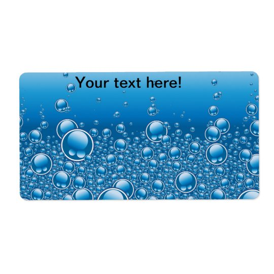 Blue bubbles background shipping label