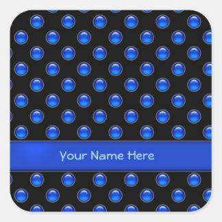 Blue Bubbles Black Square Stickers