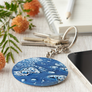 Blue Bubbles Ice and Water Abstract Keychain