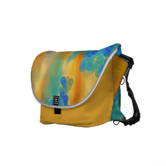 """Blue Bubbles in Saffron"" Messenger Bag"