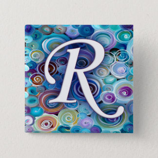 Blue Bubbles Monogram R 15 Cm Square Badge