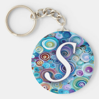 Blue Bubbles Monogram S Basic Round Button Key Ring
