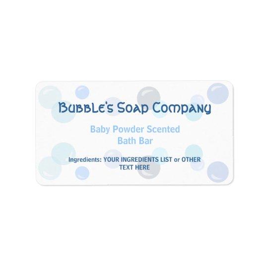 Blue Bubbles Pattern on White Soap Label