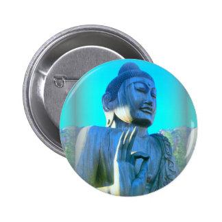 blue buddha 6 cm round badge