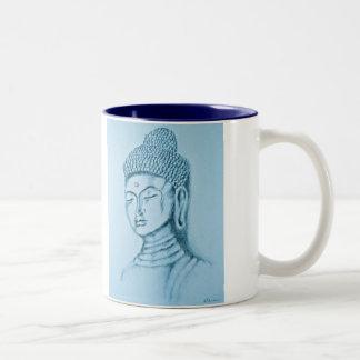Blue Buddha/Namaste Two-tone Mug