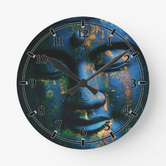 Blue Buddha Om Peace Round Clock