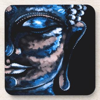 BLUE BUDDHA Plastic coasters w cork back set of 6