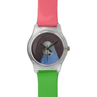Blue Budgie Bird Animal Wrist Watch