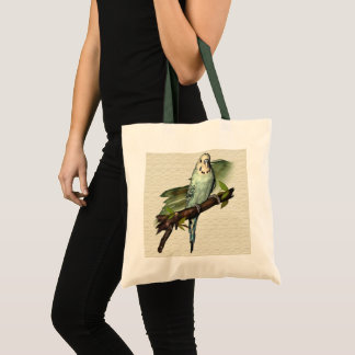 Blue Budgie Canvas Tote
