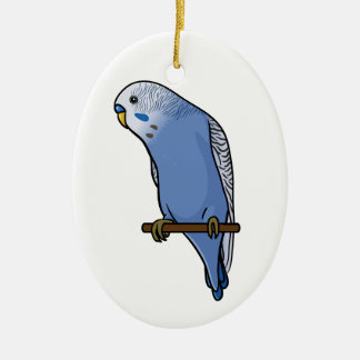 Blue Budgie Christmas Ornament