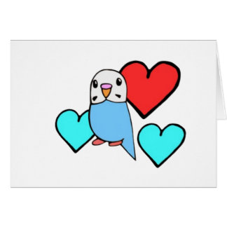 Blue Budgie with Hearts Card