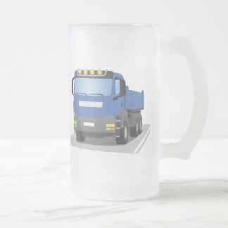 blue building sites truck frosted glass beer mug