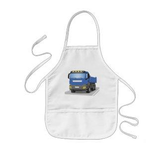 blue building sites truck kids apron