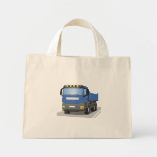 blue building sites truck mini tote bag