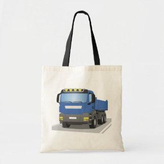 blue building sites truck tote bag