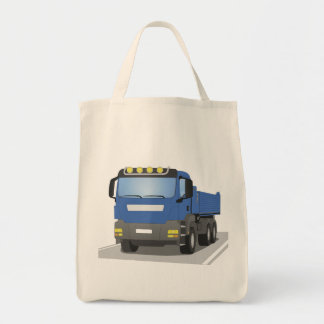 blue building sites truck tote bag