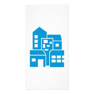 Blue buildings photo card template