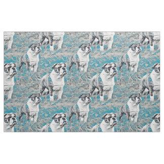 Blue Bulldog Seamless Fabric Pattern