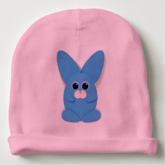 Blue Bunn on Pink Baby Hat Baby Beanie