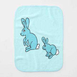 blue bunnies burp cloth