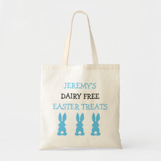 Blue Bunnies Food Allergy Personalized Easter Tote Bag