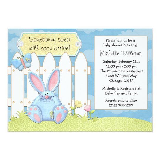 Blue Bunny Baby Shower Invitation