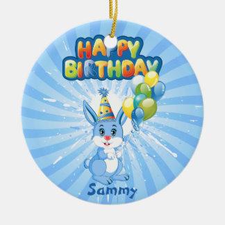 Blue Bunny Birthday Cartoon Christmas Ornament