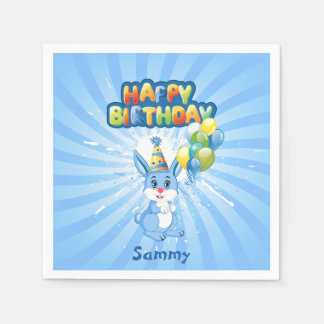 Blue Bunny Birthday Cartoon Disposable Serviettes