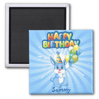 Blue Bunny Birthday Cartoon Magnet