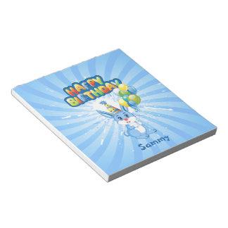 Blue Bunny Birthday Cartoon Notepad