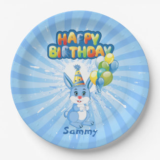 Blue Bunny Birthday Cartoon Paper Plate