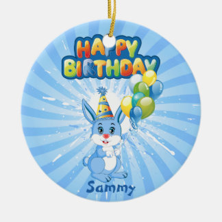 Blue Bunny Birthday Cartoon Round Ceramic Decoration