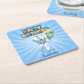 Blue Bunny Birthday Cartoon Square Paper Coaster