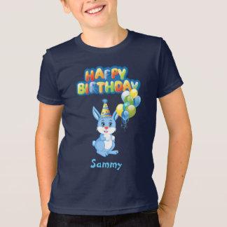 Blue Bunny Birthday Cartoon T-Shirt