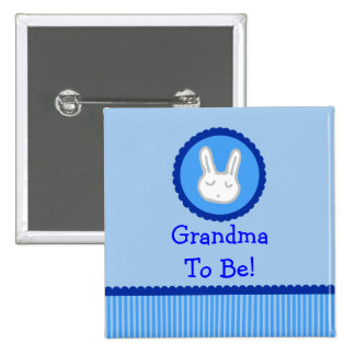 "Blue Bunny ""Grandma To Be"" Baby Shower Button"