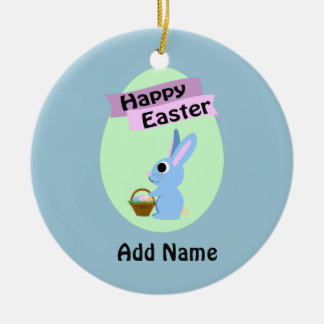 Blue Bunny Happy Easter Christmas Ornament