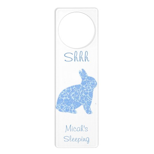 Blue Bunny Personalised Door Hangar Door Hanger