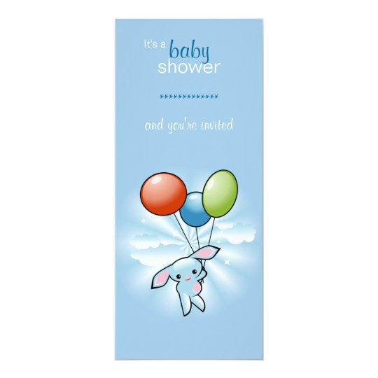 Blue Bunny with Coloured Baloons Baby Shower Card