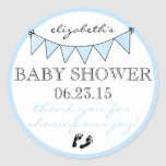 Blue Bunting Baby Footprints Shower Thank You Round Sticker