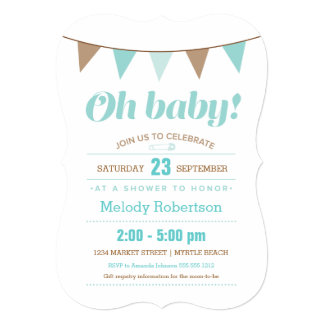 "Blue bunting baby shower invitation 5"" x 7"" invitation card"
