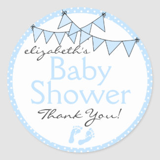 Blue Bunting Flags Baby Shower Thank You Round Sticker